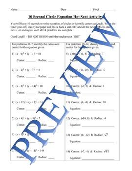Circle Equations Hot Seat Activity