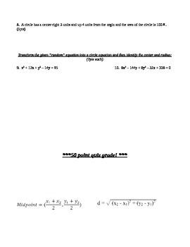 Circle Equations Quiz