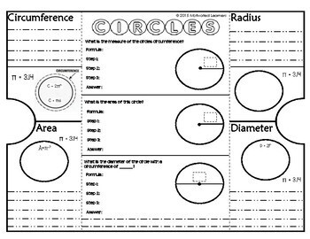 Circle Foldable Interactive Notebook Graphic Organizer (2) Pi Day