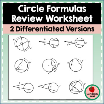 Circle Formulas Review - Graphic Organizer G-C.A.2