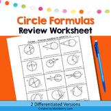 Circle Formulas Review  Practice Worksheet Graphic Organizer Geometry