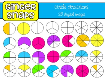 Circle Fractions Clip Art Set