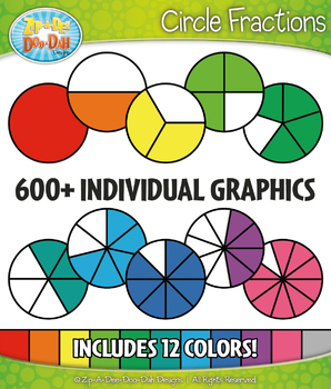 Circle Fractions Clipart Set – Includes 615 Graphics!
