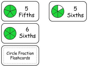 Circle Fractions printable Flash Cards. Preschool math fractions flashcards.