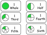 Circle Fractions printable Flash Cards. Preschool math fra