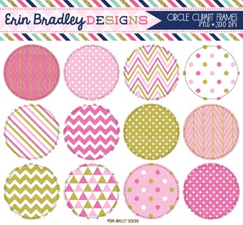 Circle Frame Clipart - Pink & Gold