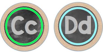 Circle Frame Word Wall Headers - Burlap, Black, and Rainbow!