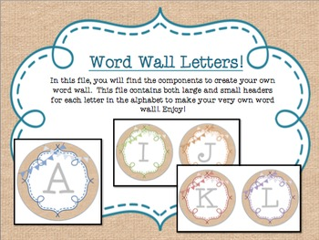 Circle Frame Word Wall Headers - Burlap, Rainbow, Bunting {Two Size Choices}