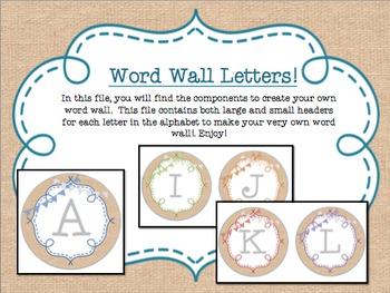 Circle Frame Word Wall Headers - Burlap, Rainbow, Bunting
