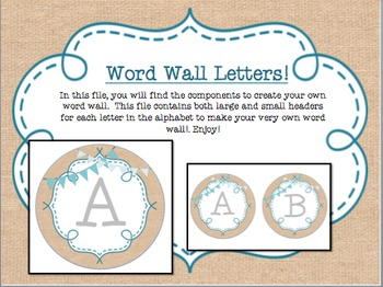 Circle Frame Word Wall Headers - Burlap, Teal, Bunting {Two Size Choices}