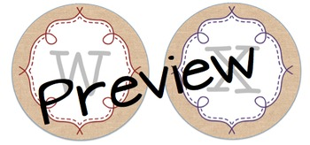 Circle Frame Word Wall Headers - Burlap and Rainbow {Two Size Choices}