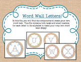 Circle Frame Word Wall Headers - Burlap and Rainbow {Two S