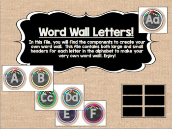 Circle Frame Word Wall Headers - Burlap, Black, Rainbow, & Bunting!