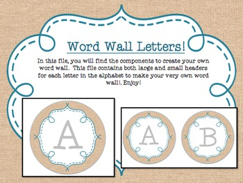 Circle Frame Word Wall Headers - Burlap and Teal {Two Size Choices}
