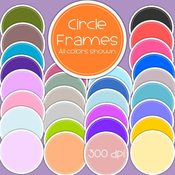 Circle Frames/Banners - outlined in white -  300 dpi - 30 in all