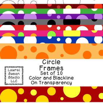 Circle Frames Clip Art PNG JPG Blackline Included Commercial or Personal
