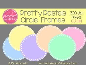Circle Frames Clipart {Pretty Pastels} Personal or Commercial Use