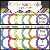 Circle Frames:  Rainbow Colors (filled and transparent)
