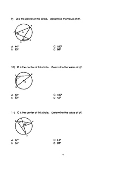 Math 9: Circle Geometry Test (Version 1) with FULL SOLUTIONS