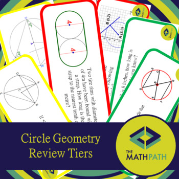 Circle Geometry Unit Review Tiered Task Cards