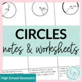 Circles Guided Notes and Worksheets