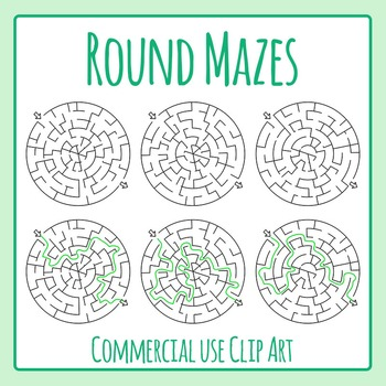 Circle Mazes Clip Art Set for Commercial Use