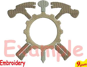 Circle Mechanic Tools Hammer Designs for Embroidery 4x4 5x7 hoop Science 107b