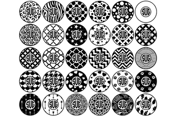 Circle Monogram Frames, SVG Files. Circle Patterns SVG Files.