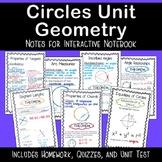 Circles Unit - Homework/ Quizzes/ Unit Test