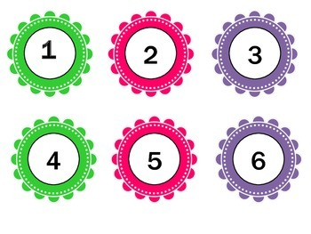 Circle Number Labels 1-100