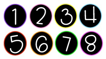 circle number labels 1 30 black white with neon by classroomnotes
