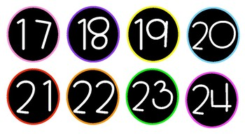 Circle Number Labels 1-30 Black/White with Neon