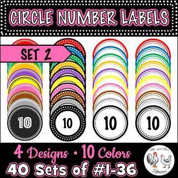 120 Circle Number Labels BUNDLE Sets 1, 2, 3 - Computer Lab | Classroom | Desk |