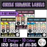 120 Circle Number Labels BUNDLE Sets 1, 2, 3 - Computer La