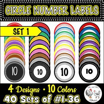 Circle Number Labels Set 1 - Computer Lab | Classroom | Desk | Organizer