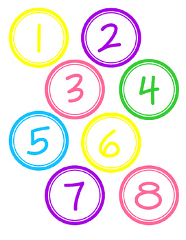 Colorful Circle Numbers 1-30 and Letters