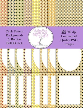 Circle Pattern Backgrounds and Borders Bold Pack (24 PNG Images 300 dpi)