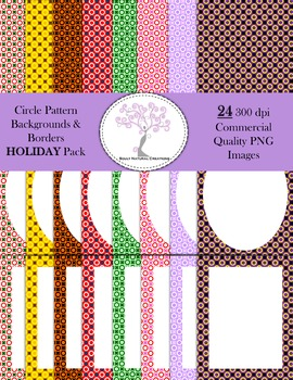 Circle Pattern Backgrounds and Borders Holiday Pack (24 PNG Images 300 dpi)
