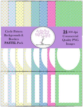 Circle Pattern Backgrounds and Borders Pastel Pack (24 PNG Images 300 dpi)