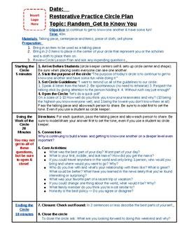 Circle Plan: Get to Know You
