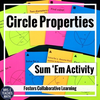 Circle Properties Sum Em Activity