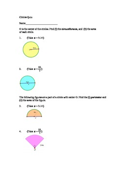 Circle Quiz - Circumference & Area