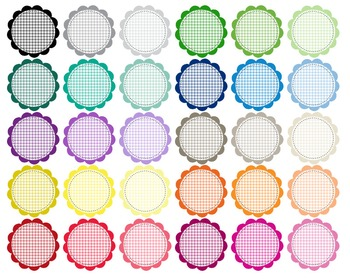 Circle Scalloped Gingham - Clipart - 30 PNG files - 300 dpi - Scrapbooking CA4