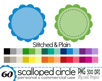 Circle Scalloped plain & Stitched - Clipart - 60 PNG files