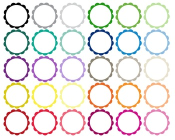 Circle Scalloped plain & transparent center - Clipart -  60 PNG files - 300 dpi