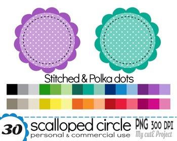 Circle Scalloped polka dots and stitched border - Clipart - 30 PNG files - CA6