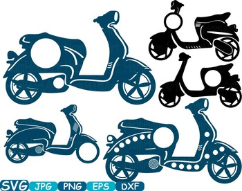 Circle Scooters Silhouette clipart Motorbike Monogram photo props frame -306s