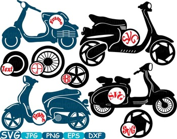 Circle Scooters Silhouette clipart Motorbike Monogram phot
