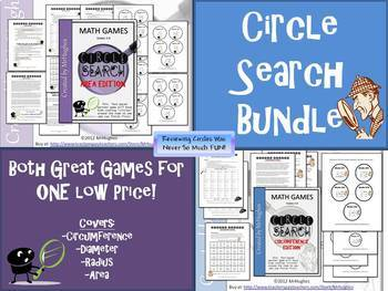 Circumference and Area {Circle Search Game MEGA BUNDLE}