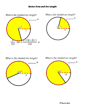 Circle - Sector Area and Arc Length